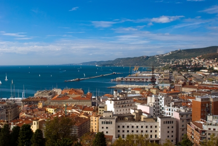 marina life: sea view  of Trieste Port, Italy Stock Photo