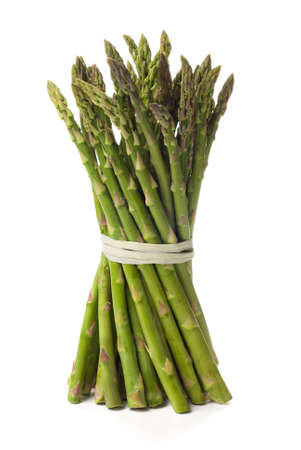 Tied bundle of asparagus isolated on white background photo