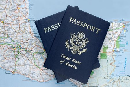 Two US American passports over map of Mexico, Caribbean, selective focus Stock Photo - 3073285