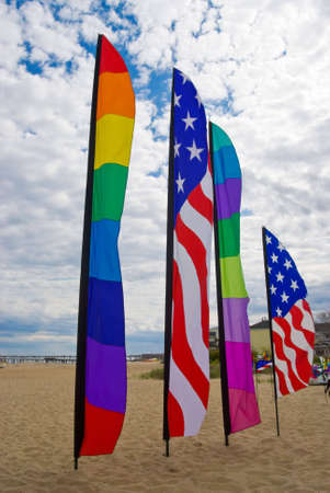 American and rainbow gay pride flags on the beach at Provincetown, Massachusetts, USA Zdjęcie Seryjne - 3108216