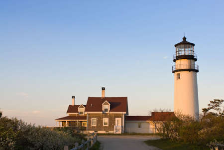 nautical structure: Highland lighthouse in Cape Cod, Massachusetts, USA at sunset