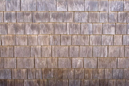 Weathered cedar wood siding shingles, texture, background Stock Photo