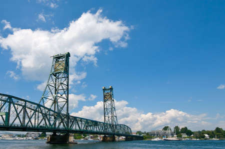 View of drawbridge over the Piscataqua River, between Portsmouth NH and Kittery ME