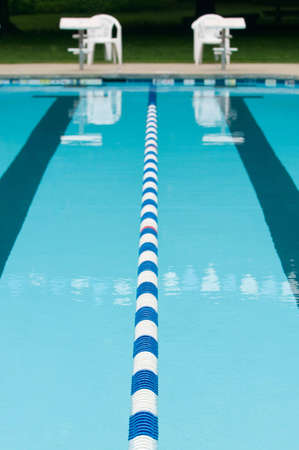 separator: Lane separator, blue and white floats, in outdoor swimming pool Stock Photo