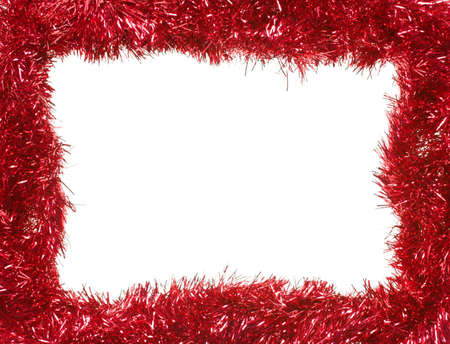 Red Christmas tinsel garland, forming a rectangular frame with center copy space, isolated on white background (isolation done in-camera)