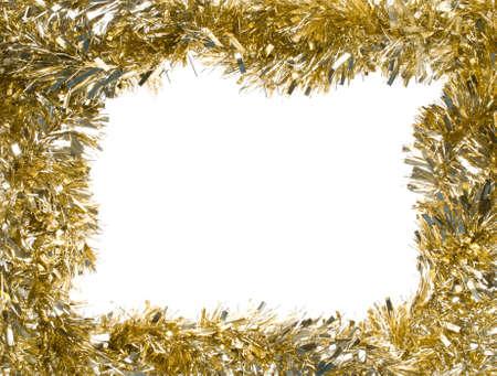 골드 크리스마스 반짝이 화 환, 센터 복사본 공간, 사각형 프레임을 구성하는 흰색 배경 (절연 카메라에서 할) 스톡 콘텐츠