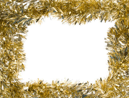 tinsel: Gold Christmas tinsel garland, forming a rectangular frame with center copy space, isolated on white background (isolation done in-camera) Stock Photo