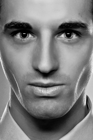 A Fashion  Closeup Of A Male Model In Monotone photo