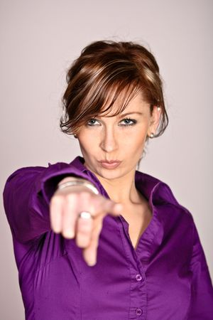 Photo Of A Serious Woman Pointing At You Standard-Bild
