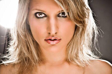 Front Side Closeup Portrait Of A Beautiful Blond Woman