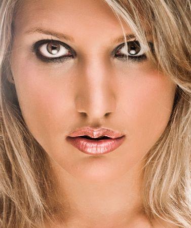 Face Portrait Of A Beautiful Blond Woman Stock Photo