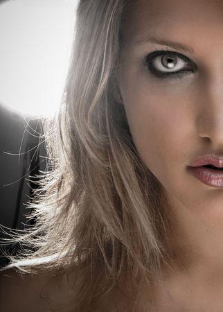 Half Face Closeup Portrait Of A Beautiful Blond Woman