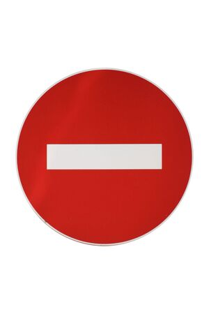 Isolated Forbidden Traffic Sign On A White Background photo