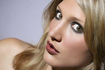 Big Eyed Beautiful Blonde Woman Closeup Portrait
