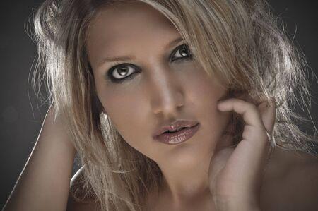 Closeup Photo Of A Beautiful Blond Girl Stock Photo