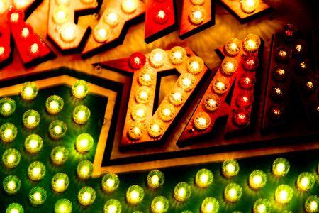 Colored Carousel Lights Sign Billboard Closeup