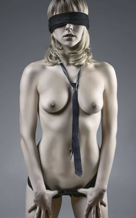 naked girl black hair: Sensual Photo Of A Nude Blindfolded Blond Woman
