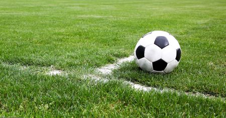 Soccer Ball Closeup On A Stadium Corner Stock Photo - 5255545