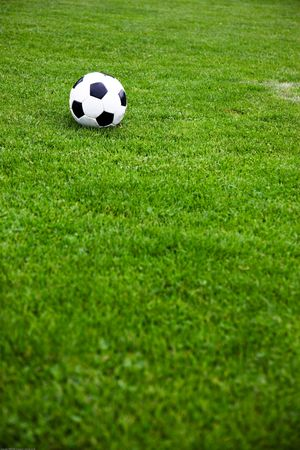 Photo Of A Soccer Ball On A Grassy Field Stock Photo - 5255527