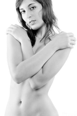Monotone Photo Of A Girl Posing Nude Stock Photo