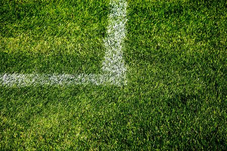 Closeup Photo Of A Painted Square Corner On A Soccer Field Stock Photo - 5464655