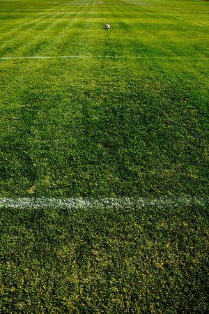 Photo Of A Fresh Green Grassy Soccer Field Zone Stock Photo - 5464658
