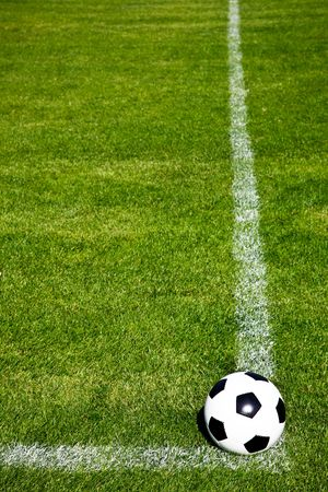 Perspective View Of A Soccer Ball On A Corner Square