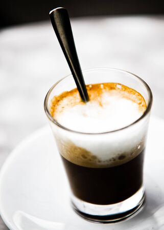 Tasty Glass Of Cappuccino With Cream And Foam