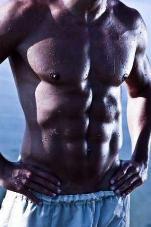 Sensual Muscular Man Torso Stock Photo