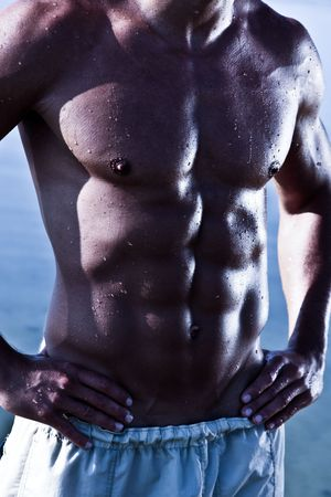 Sensual Muscular Man Torso Stock Photo