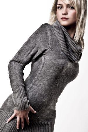 Beautiful Blond Girl Posing In A Big Collar Autumn Sweater Stock Photo - 5815154