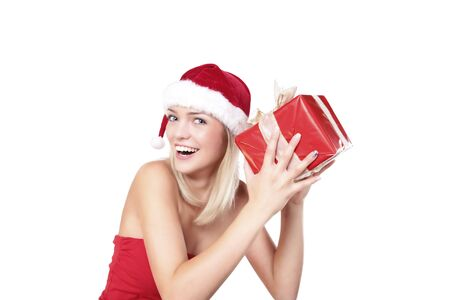 Cute Blond Santa Girl With A Present Box