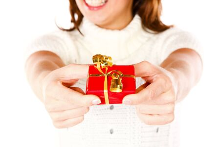 Conceptual Closeup Photo Of A Cute Smiling Woman Offering A present Stock Photo