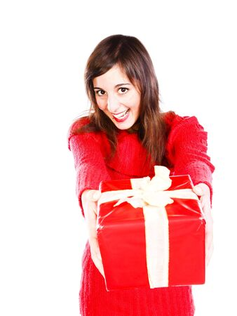 Cheerful Young Woman Offering A Red Boxed-In Present Stock Photo