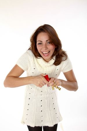 Cute Cheerful Woman Cant Wait Too See What Present She Got