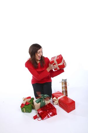 Cheerful Brunette Woman Preparing The Christmas Presents