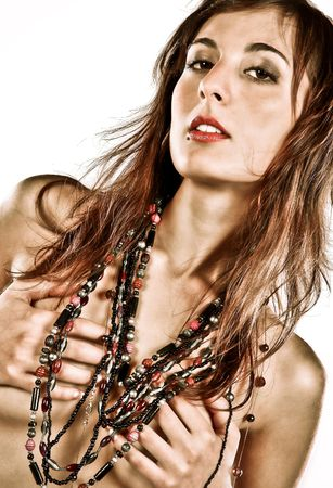 Closeup Photo Of A Sensual Beautiful Woman With Lots of Necklaces Stock Photo