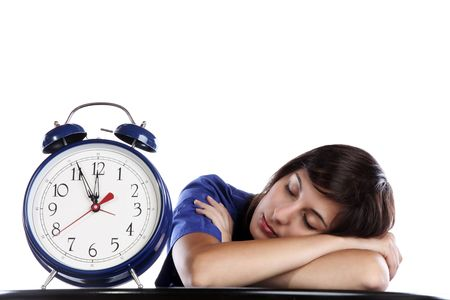 Conceptual Photo Of A Pretty Woman Sleeping Over Time Stock Photo - 5844973