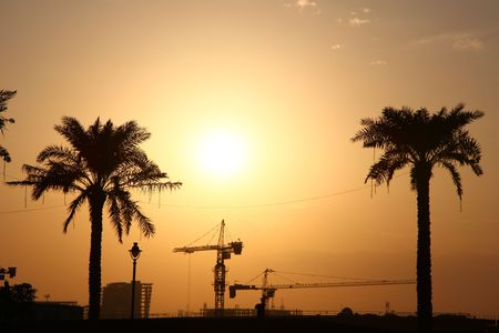 Evening Sun Over A Construction Site In Dubai Stock Photo - 6227441