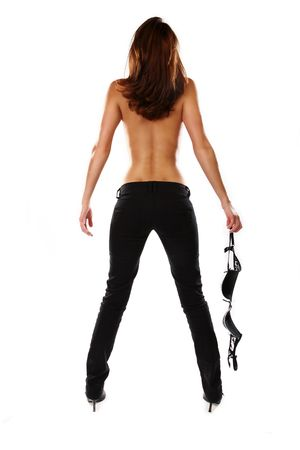 Sensual Photo Of A Slim Woman Holding Her Bra Stock Photo