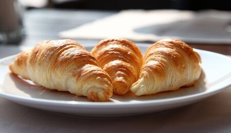 Tasty Croissants Snack On A White Plate