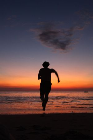 Running Silhouette On A Beach Against The Water On A Beautiful Dusk Background Standard-Bild