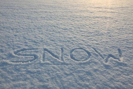 Snow Writing Word In A Fresh Bright Winter Day