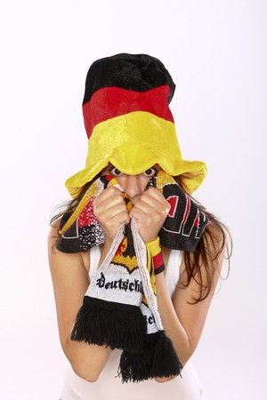 Closeup Of An Excited German Soccer Fan Girl