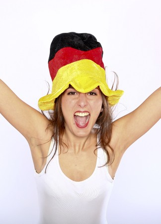 Cheerful German Soccer Fan Woman Wearing A Hat photo