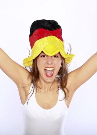 german girl: Cheerful German Soccer Fan Woman Wearing A Hat