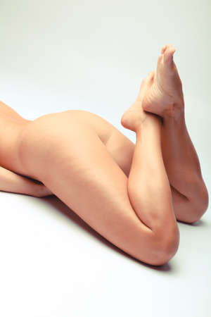 Nude Detail Of A Sensual Woman With Beautiful Legs Stock Photo