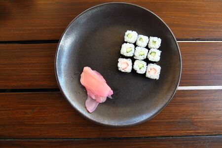 Japan Traditional Sushi Food With Different Seafood Rolls