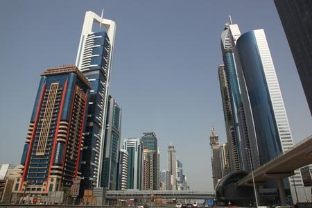 DUBAI, UAE - 2112011: Business Bay Boulevard With Skyscraper Buildings In Dubai