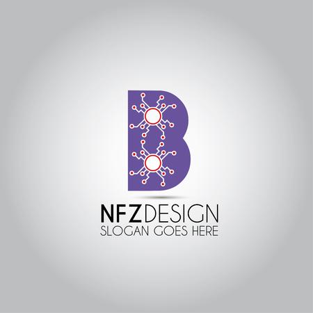 B Letter Digital Data Logo